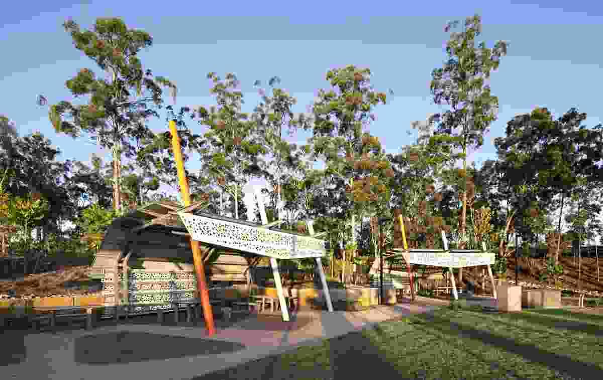 Picnic structures adjacent community entertainment precinct.