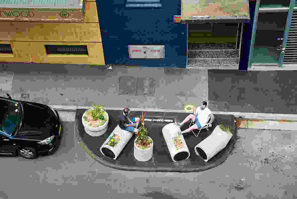 In Foster Street, Surry Hills, tiny asphalt islands have sprouted in the parking lanes.