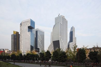 Sliced Porosity Block in Chengdu by Steven Holl Architects.