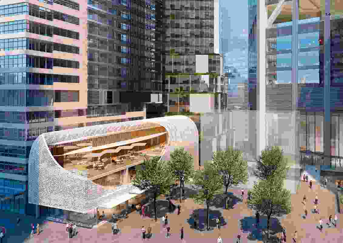 The George Street public plaza of the The proposed Circular Quay tower development designed by Foster and Partners will be bordered by a refurbished Jacksons on George pub by Stewart Hollenstein and a yet-to-be-designed community building.