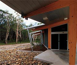 The continuous floor slab of the northern access verandah provides one of the facility's major social spaces.Image: Richard Stringer