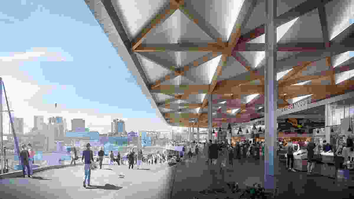 The roof of the proposed Sydney Fish Market designed by 3XN/GXN, BVN and Aspect Studios will be made from timber and aluminium to form a canopy.