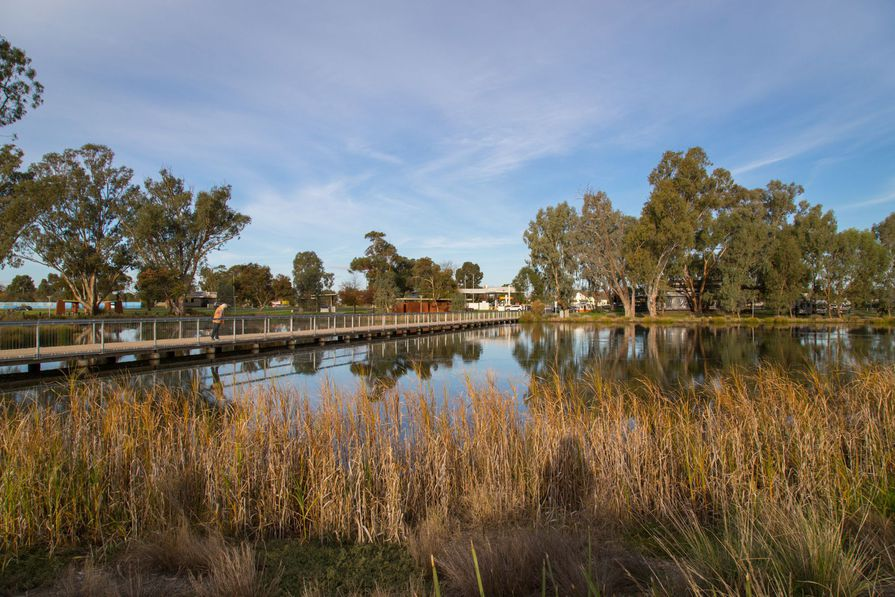 The new Shepparton Art Museum will be sited adjacent to Victoria Park Lake (pictured).