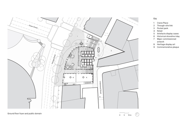 Ground floor foyer and public domain plan of the EY Centre by FJMT.