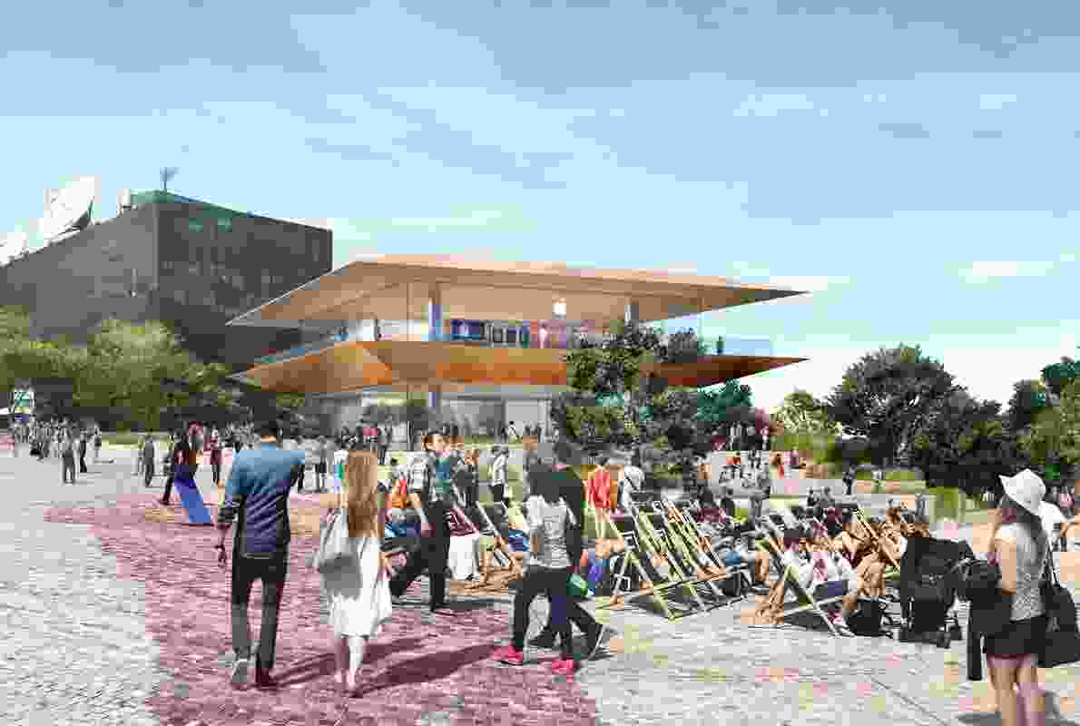 The proposed Apple store for Federation Square by Foster and Partners.