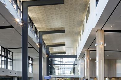 A wooden mosaic ceiling effect has been achieved by using decorative Supatile 10 ceiling tiles in The Corso, North Lakes, Qld – Australia's first public building with a 5-star Green Star rating.