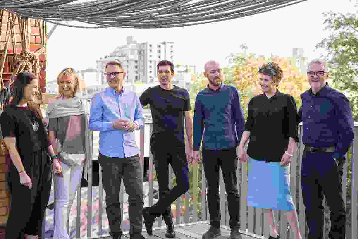 The John Wardle Architects project team, L–R: Ariani Anwar, Elizabetta Zanella, Stefan Mee, James Loder, Sam Clegg, Meaghan Dwyer and John Wardle.