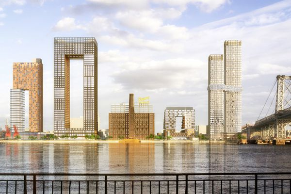 SHoP Architects' design for the Domino Sugar Refinery apartment complex, Brooklyn, New York.
