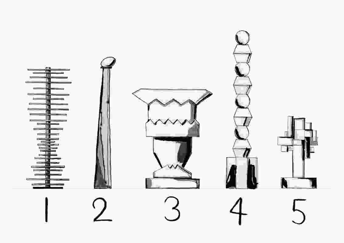 The five totems were built with different types of timber, each inspired by a different wine.