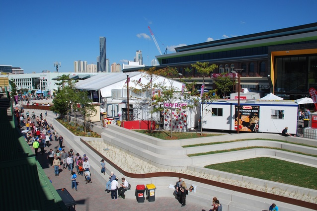 The plaza is the main outdoor event space at the convention centre.