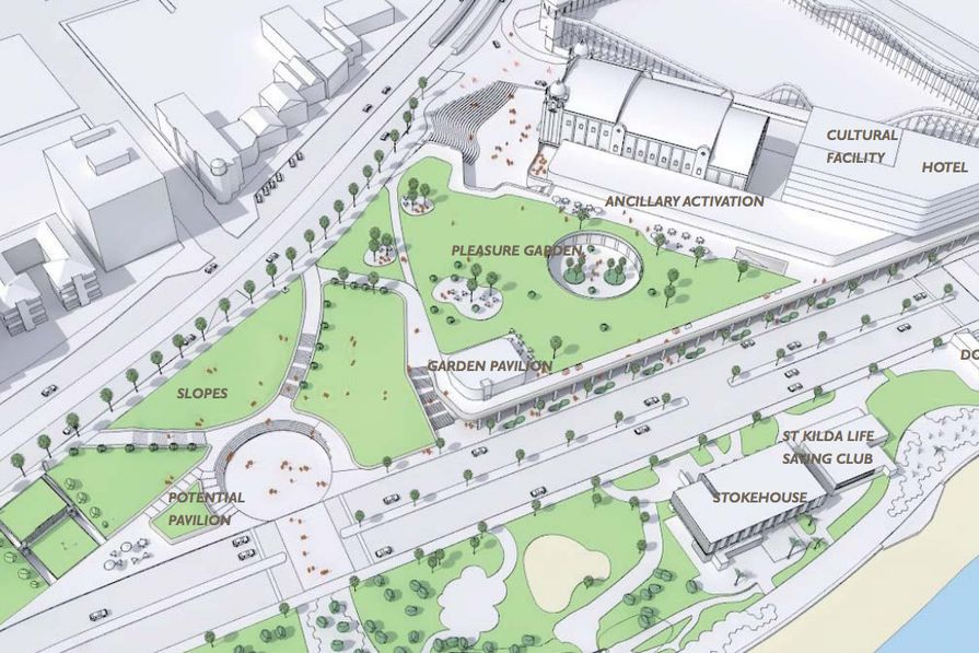 """The plans for the St Kilda Triangle feature two pavilions, a cultural facility, a boutique hotel, an ampitheatre, a forecourt and a green space dubbed """"the pleasure garden""""."""