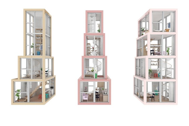 Rooms are stacked within apartments of Towers within a Tower by Kwong Von Glinow.