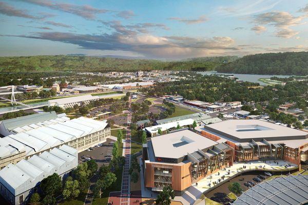 A view from Aurora Stadium of the plans for a four-storey building on the Inveresk site.
