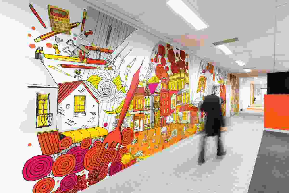 The murals reference Melbourne's street art culture with the urban geography and iconography of the inner city.
