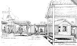 """Drawing by Julian Wigley of a cookhouse unit and bower shades, with a timber floor platform located in a yard space near a house used during rainy periods. From B. Wigley and J. Wigley, """"Community Planning Report: Barkly Region"""", prepared for ATSIC on behalf of the Jurnkurakurr Aboriginal Resource Centre, 1990, p.58."""