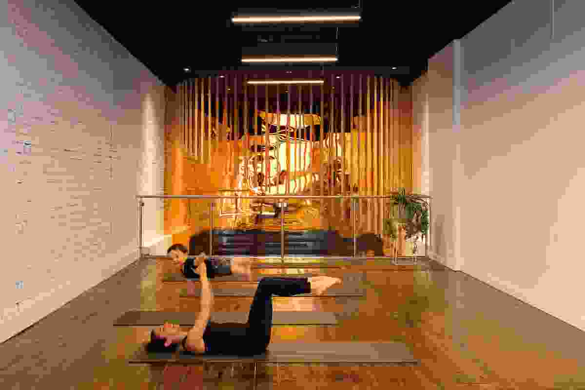 The installation re-energizes guests using the pilates studio on the mezzanine floor.