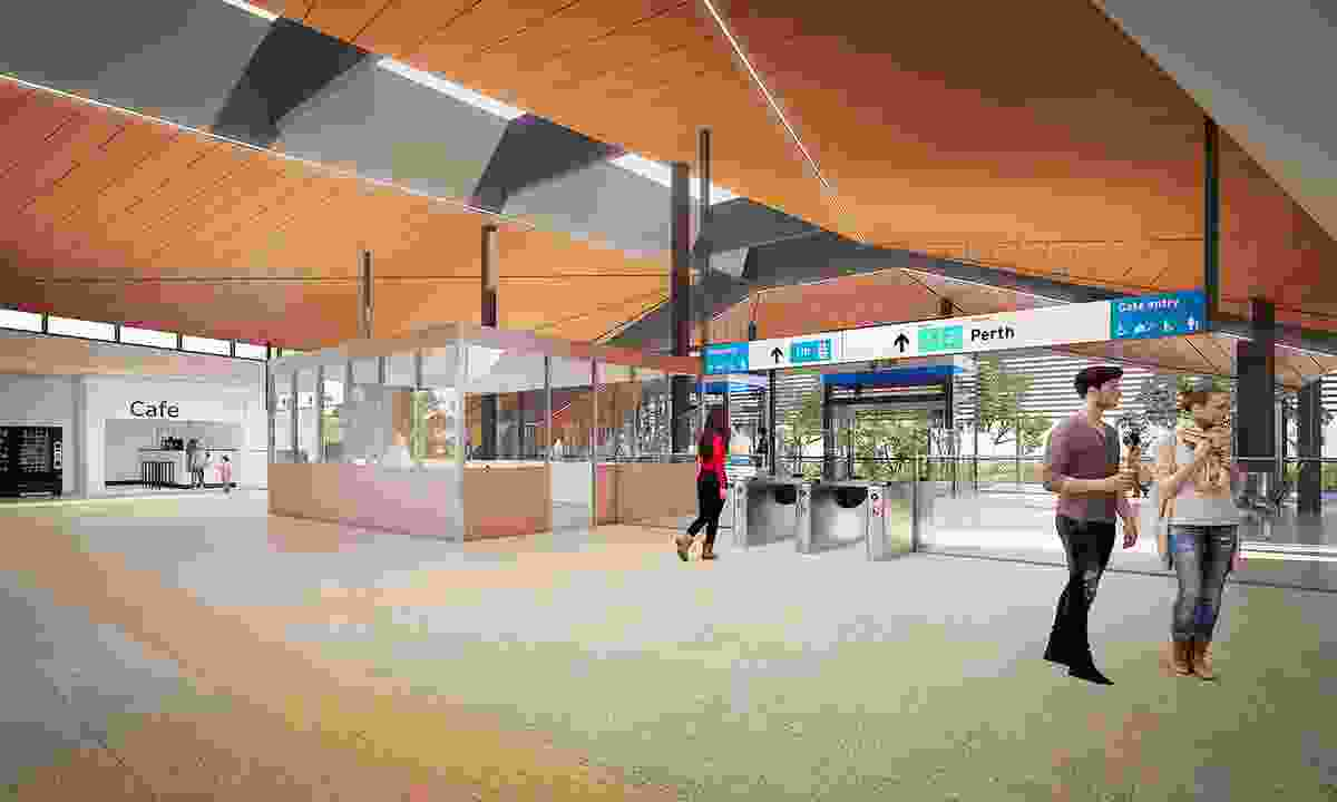 The concourse at Forrestfield Station by Weston Williamson and Partners in collaboration with GHD Woodhead.