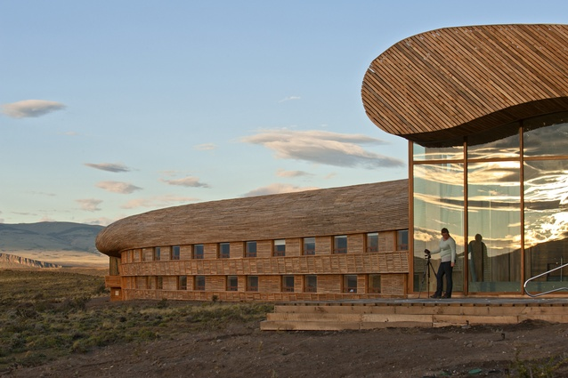 Timber is ambitiously crafted in both the interior and exterior of Hotel Tierra Patagonia.