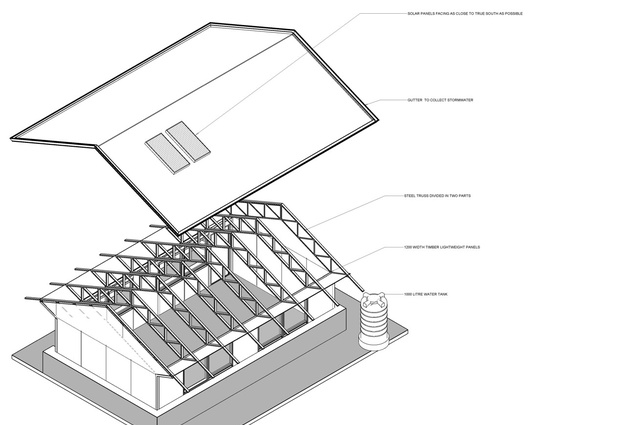 3D exploded view of the school design.