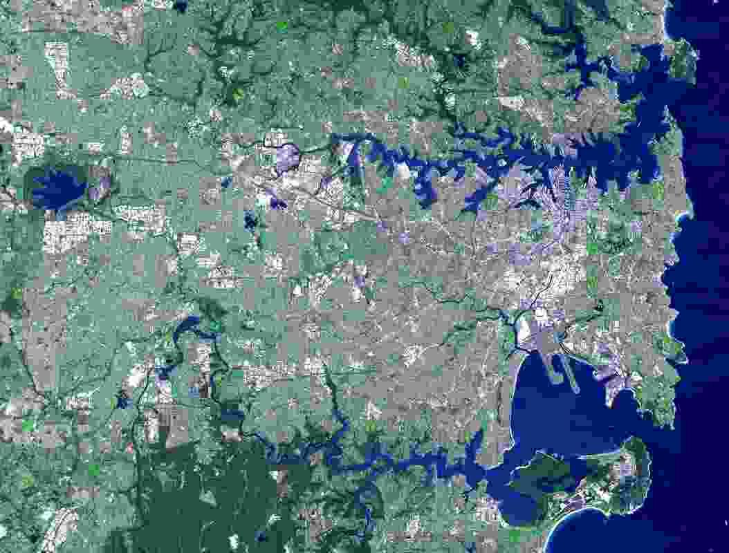 Satellite photograph of Sydney.