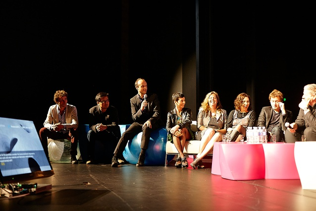 The final discussion with guest speakers (from left): Cesare Peeren, Yosuke Hayano, Jorge Otero-Pailos, Manuelle Gautrand, Virginia San Fratello, Emma Young, Philippe Rahm and Matthias Kohler.
