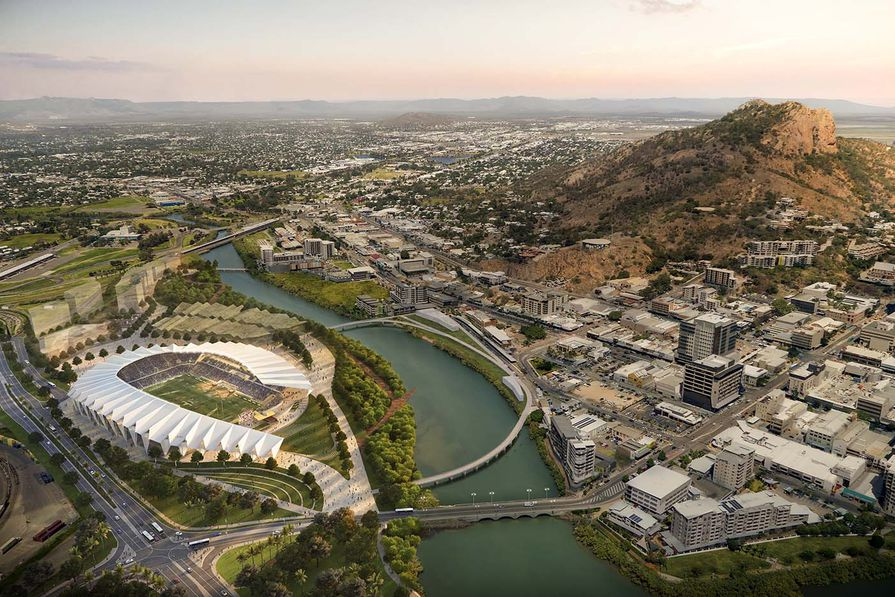 The winning design for North Queensland Stadium by Cox Architecture and 9Point9 Architects, to be built in Townsville.