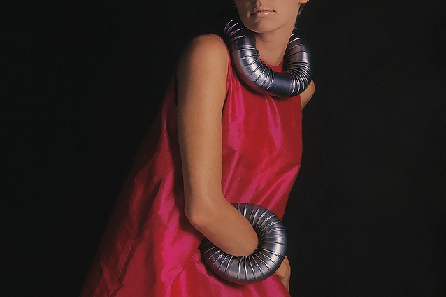 The Stovepipe necklace and bracelet (1967) are made from aluminium.