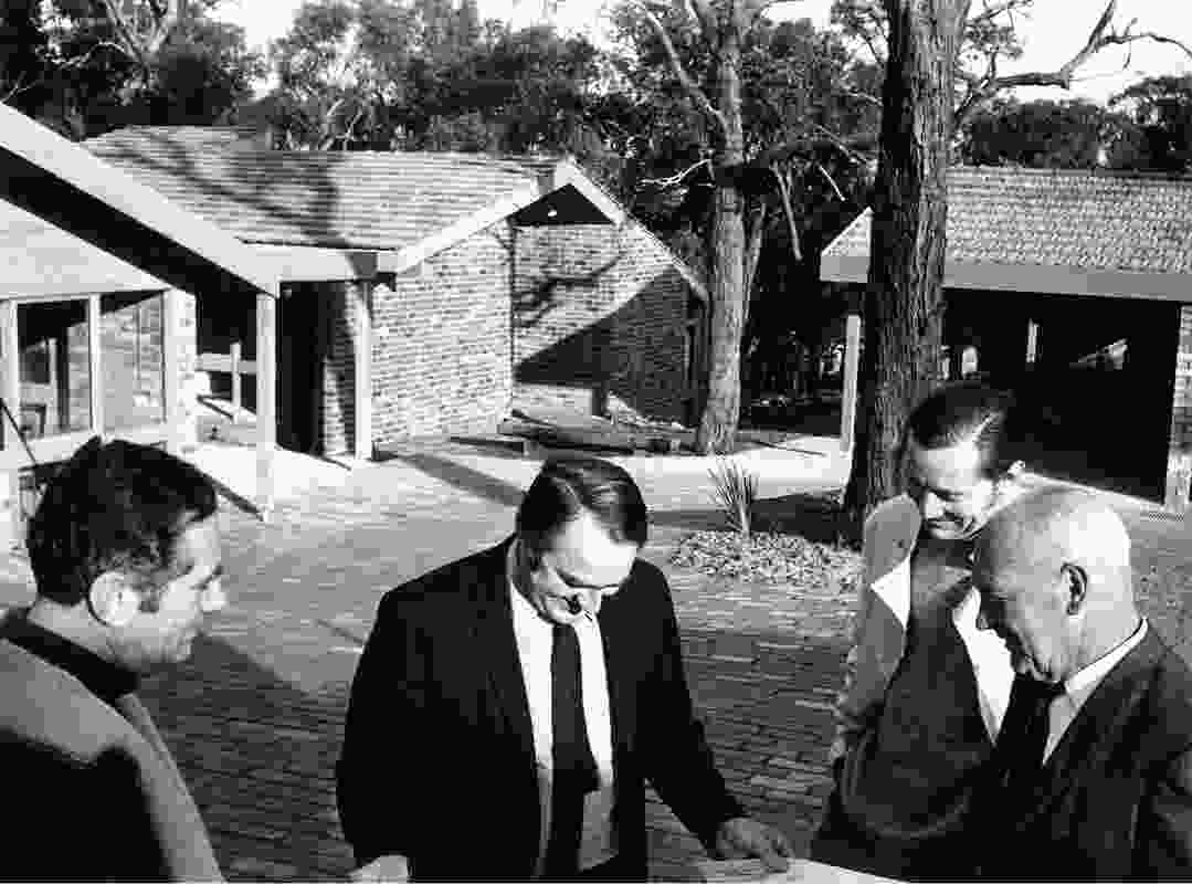Winter Park was built by Merchant Builders' John Ridge (far left) and David Yencken (centre right) with landscaping by Ellis Stones (far right) and houses by architect Graeme Gunn (centre left). (Cross Section Archive, Architecture Library, University of Melbourne).