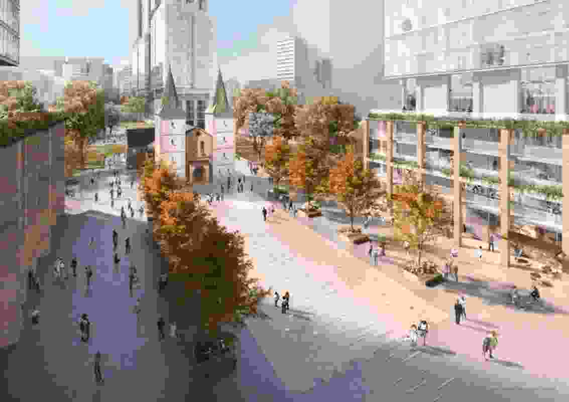 An early indicative design for the proposed square at St John's Cathedral in Parramatta.