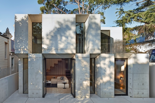 The Glebe House is a striking composition of stacked, raw concrete elements that were cast in situ.