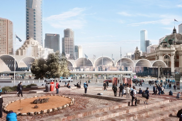The winning proposal for Flinders Street Station design competition by Hassell + Herzog & de Meuron.