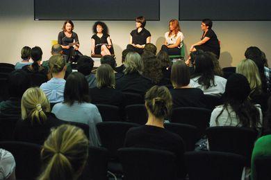 Discussion panel, (L-R) Sandra Kaji-O'Grady, Karen Burns, Hannah Tribe, Ninotschka Titchkosky, Justine Clark.