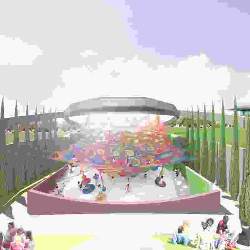 A playground designed by Toshiko MacAdam, Tom Otterness and Daily tous les jours in the proposed MONA Motown.