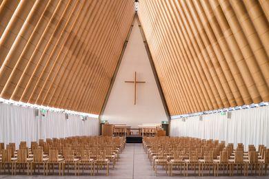 Shigeru Ban's Cardboard Cathedral (2013) for post-quake Christchurch.