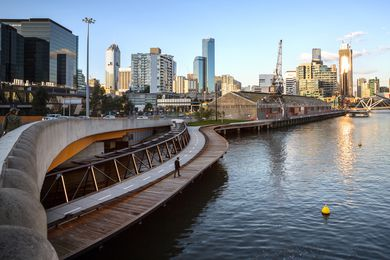 Jim Stynes Bridge connects commuters from Melbourne's CBD with Docklands and Southbank.