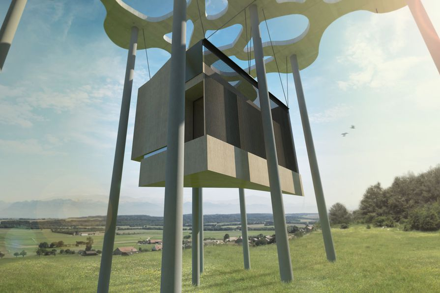 Suspended Writer's Cabin design by Nobbs Radford Architects.