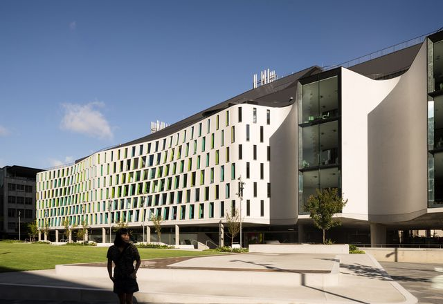 The facade overlooking the Alumni Green of the new Faculty of Science and Graduate School of Health at Sydney's University of Technology.