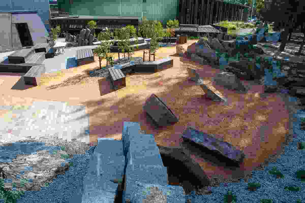 Rocks are not always in their natural forms but sliced, diced and crushed for use as paving and informal furniture.