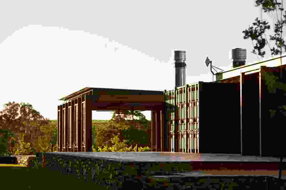 The Mitolo Wines Cellar Door and Restaurant by Tectvs is made of shipping containers, first considered for the project as a pop-up cellar door.