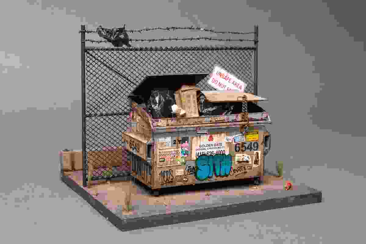 A miniature depiction of a dumpster by Joshua Smith.