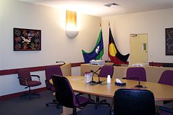 The Koori courtroom showing the first donated painting hanging above the witness box.
