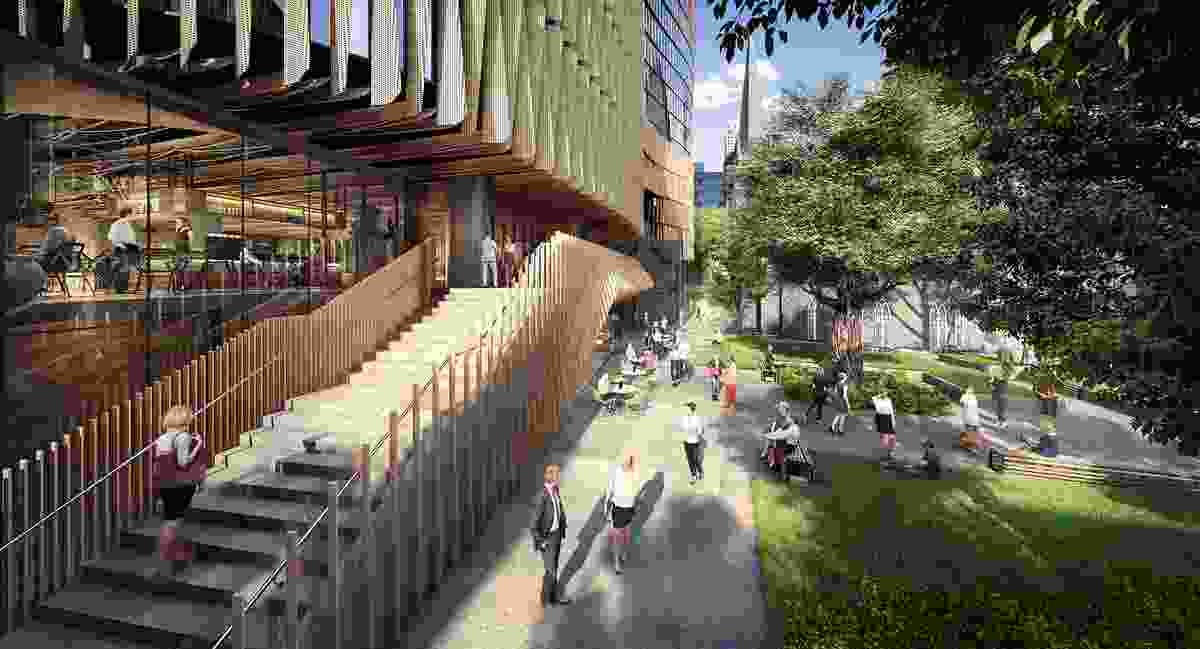 Proposed view from Little Lonsdale Street of Wesley Place by Cox Architecture, under construction.