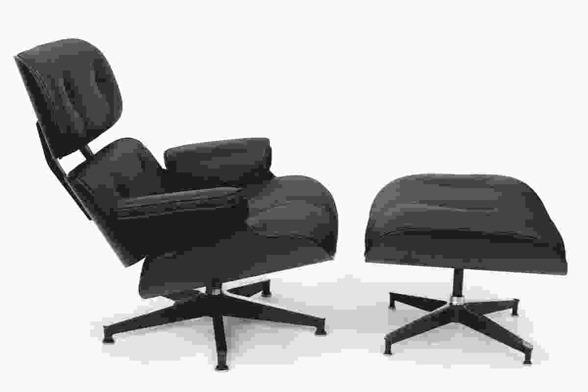 Limited edition pure black Eames Classic Lounge and Ottoman.