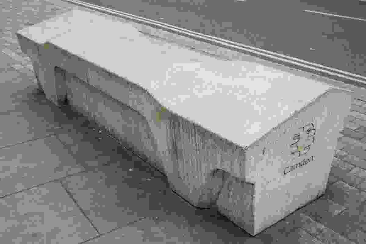 The infamous Camden Bench is designed to designed to deter use for sleeping, littering, skateboarding, drug dealing and graffiti.