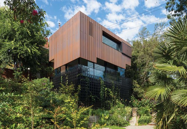 In time, the home will recede into the rambling landscape –its copper shroud will patina into washes of green and foliage will climb its blackened space frame.