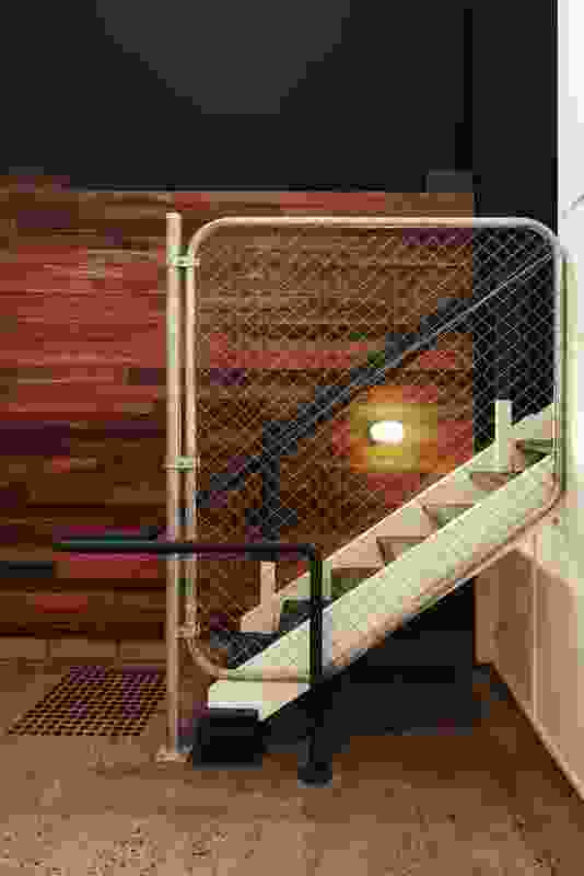 Original steel loading dock stairs re-used.