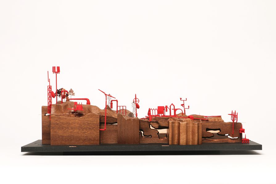 Ed Wall and Emma Colthurst / Project Studio, The Valley Project, model (2019). The project investigates pioneering Scottish town planner Patrick Geddes' valley section within the contexts of contemporary processes of urbanization. Model 1 examines the complex, site-specific qualities of a valley region in the Scottish Highlands as it relates, in part, to whisky production.