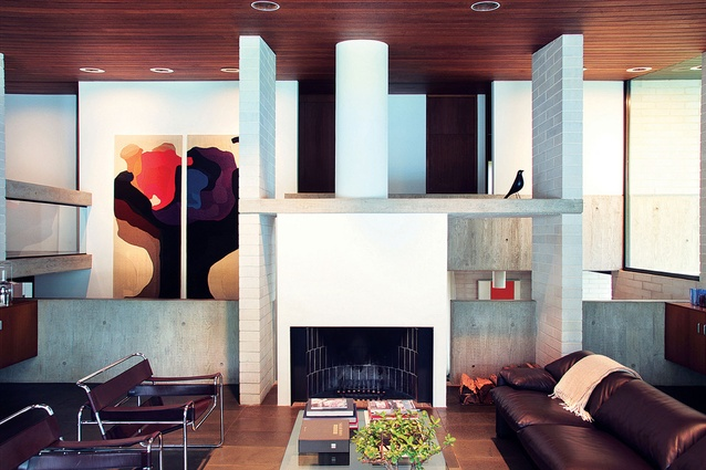 The fireplace. Artwork: Dorothea Reese-Heim, Baum, 1973.