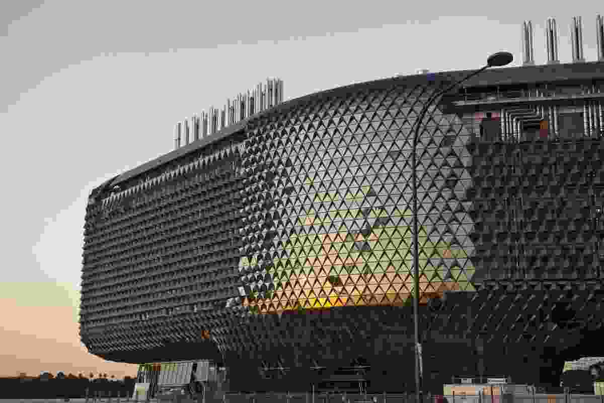 SAHMRI'S sculptural form by Woods Bagot in the heart of Adelaide's new medical and health precinct, west of the city.