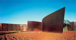 The remote Karijini National Park Visitors Centre, by Woodhead International. The weathered steel matches the red earth on which the building rests, constructing a reverential relationship to the landscape. Photograph John Gollings.